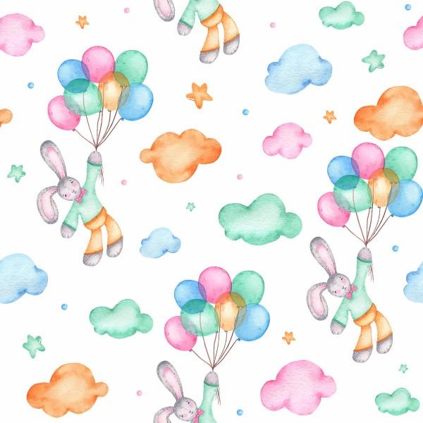 Interlock-Stoff wasserabweisend 50x40cm Hasen/Luftballons 100% Polyester