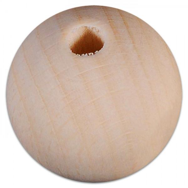 Holzkugeln mit Bohrung 60mm 5 St. natur Bohrung 10mm