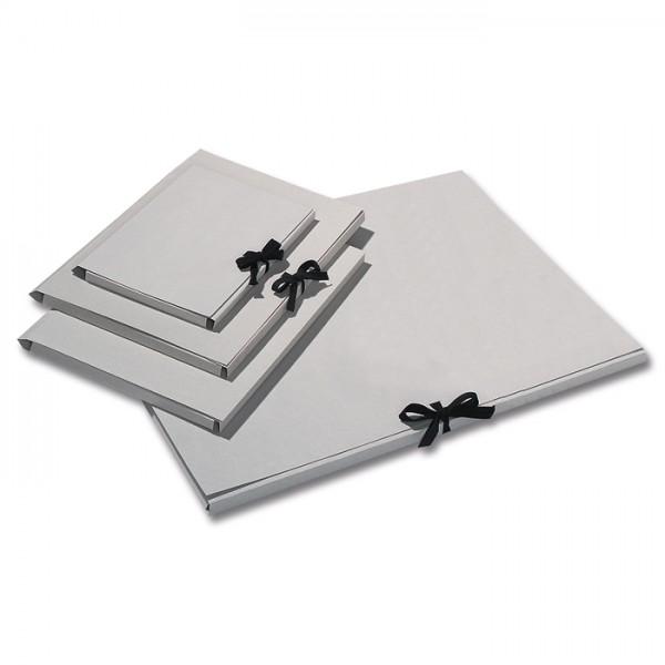 Sammelmappe mit Bindeband DIN A4 unbedruckt, Graupappe, 500g/m²