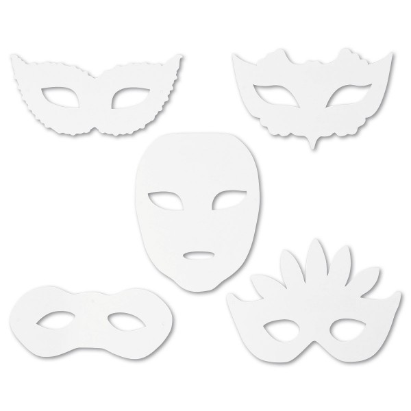 Papiermasken Karton 8,5-19cm hoch 16 St. weiß 5 Designs, inkl. Gummiband