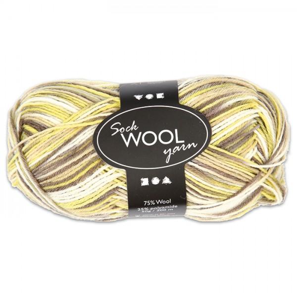 Sockenwolle 50g grün-braun 75% Wolle, 25% Polyamid, für Nadel Nr. 2,5-3
