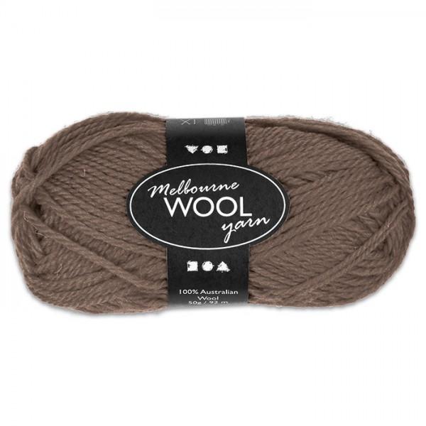 Garn Melbourne Filzwolle 50g grau-braun 100% Wolle, LL 92m, Nadel Nr. 4