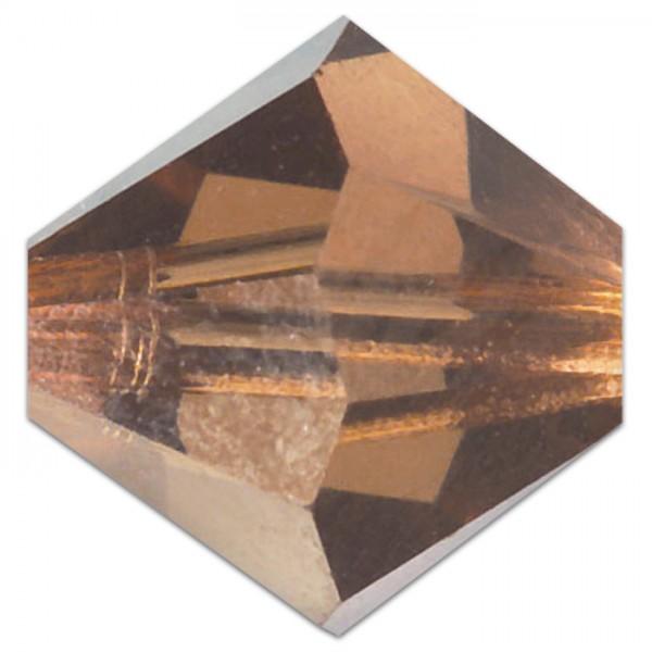 Glasschliffperle 6mm 50 St. light smoked topas Swarovski, Lochgr. ca. 0,9mm
