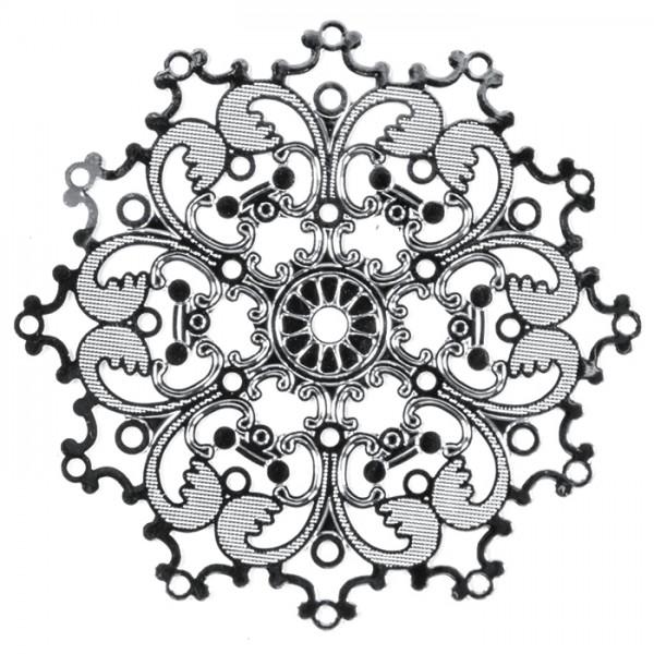 Metallanhänger Ornament ca. 40mm platinfarben Lochgröße ca. 0,9mm
