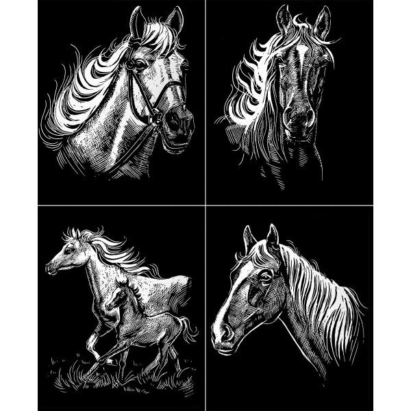 Kratzbilder-Set silber Pferde 4 St. à 24,5x30cm