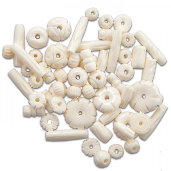 Knochenperlen-Mix ca. 8-25mm 30-40g weiß Lochgr. ca. 1,5-2mm