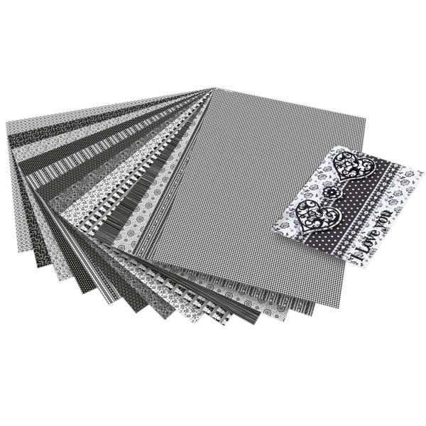 Motivkarton 270g/m² 50x70cm 13 Bl. schwarz/weiß 13 Motive