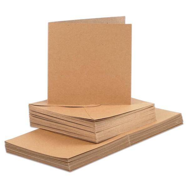 Doppelkarten 15x15cm 240g/m² 50 St. natur inkl. Kuverts