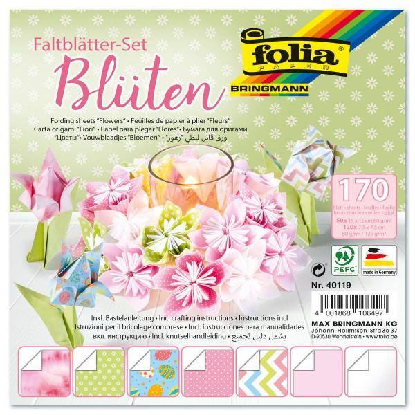 Faltblätter-Set 80&120g/m² 170 Bl. Blüten Rückseite weiß, 7 Designs, 50 Bl. 15x15cm, 120 Bl. 7,5x7,5
