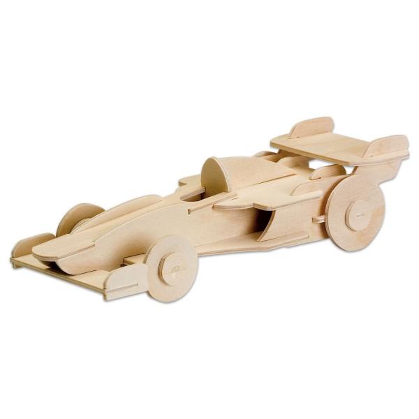 Holzbausatz Formel 1 Rennwagen 24x9cm 25 Teile vorgestanzt, zum Zusammenstecken