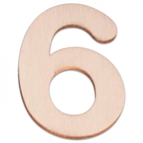 Holzzahl 6 ca. 3mm 6cm hoch natur