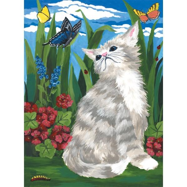 Malen nach Zahlen 22,2x29,8cm Kätzchen mit Schmetterling