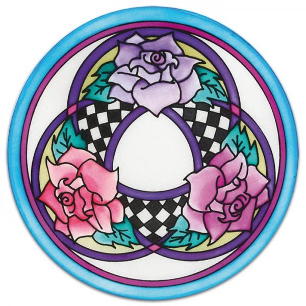 Fensterbild Gutta schwarz Ø20cm Three Roses naturweiß 100% Seide, Seide Pongé 08