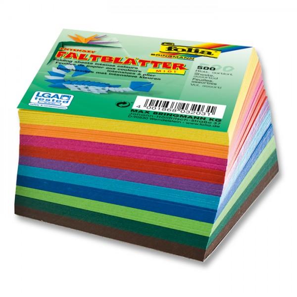 Faltblätter 70g/m² 15x15cm 500 Bl./10 Farben