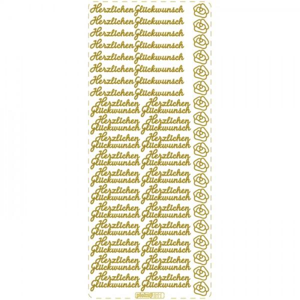 Konturensticker Herzlichen Glückwunsch goldfarben 1 Bogen à 10x23cm