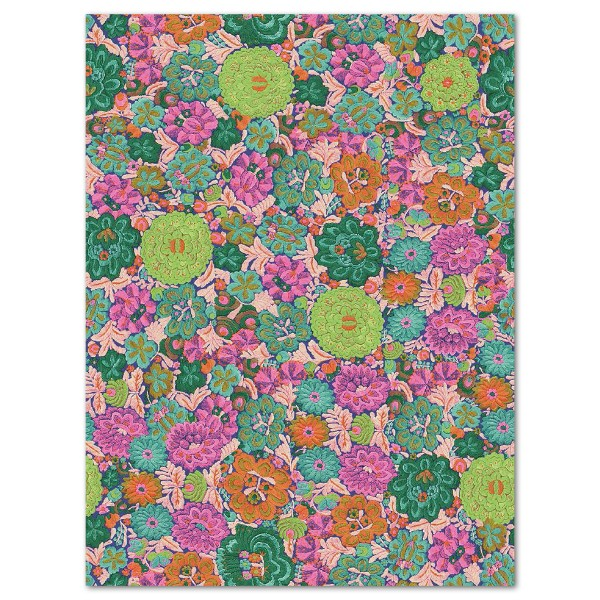 Decoupagepapier Blumen grün/pink von Décopatch, 30x40cm, 20g/m²