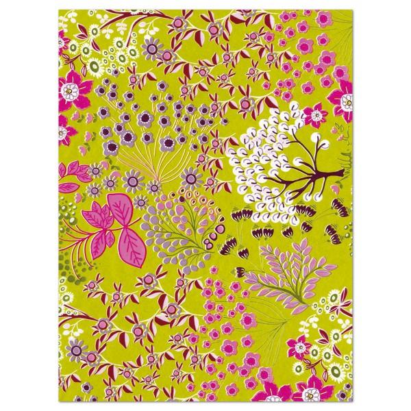 Decoupagepapier pinke Blumen auf grün von Décopatch, 30x40cm, 20g/m²