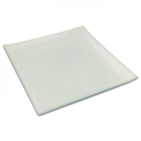 Glasteller quadratisch 20x20cm innen sandgestrahlt