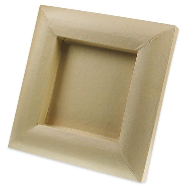 3D-Rahmen Pappmaché 20x20cm natur Ausschnitt ca. 118x118mm