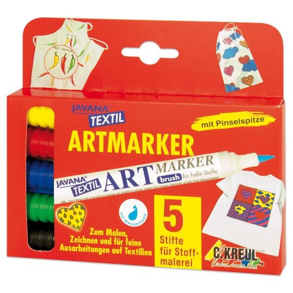 JAVANA Textil Artmarker Set 5 St./Farben mit Pinselspitze