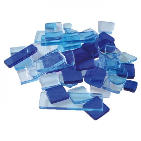 Acryl-Mosaik Lucy Formen-Mix 100g blau-mix transparent, ca. 2mm, ca. 440 Stück