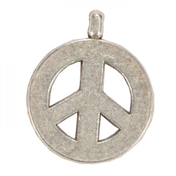 Metallanhänger Peace ca. 15mm altplatinfarben Lochgr. ca. 1mm