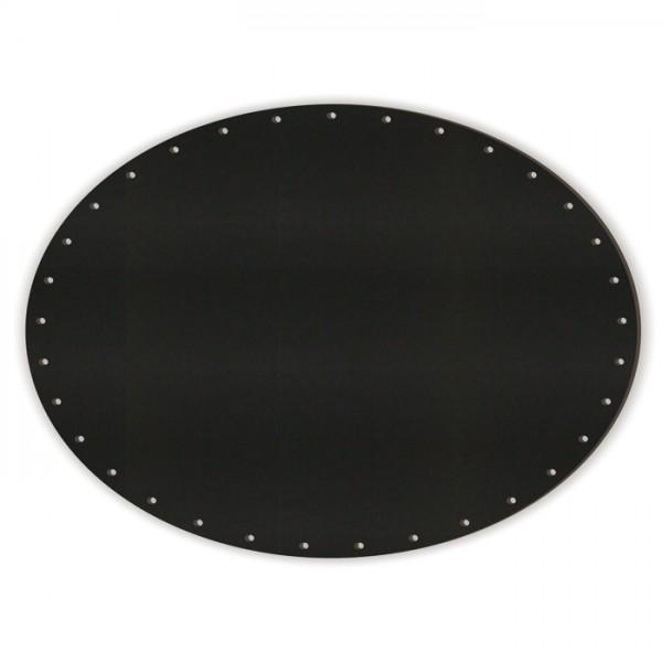 Korbflechtboden MDF 8mm 29x21,5cm oval schwarz 37 Bohrungen 3mm, beids. m. Kreidetafellack beschicht