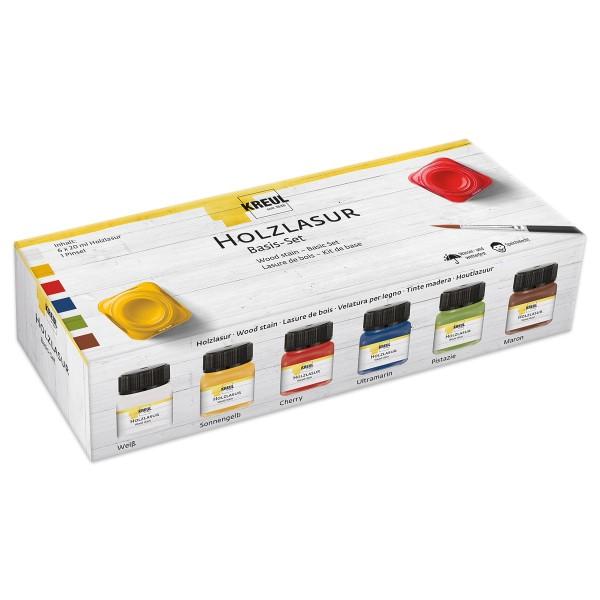Creativ-Set Holzlasur 6 Farben à 20ml inkl. Pinsel