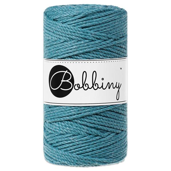 Bobbiny 3PLY Makramee Kordel Ø3mm teal ca. 300g-400g, 100% Baumwolle, LL 100m, 3x20 Fasern
