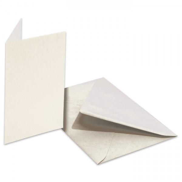 Doppelkarten 220g/m² 10,5x15cm 5 St. perlweiß inkl. Kuvert&Einlegeblatt
