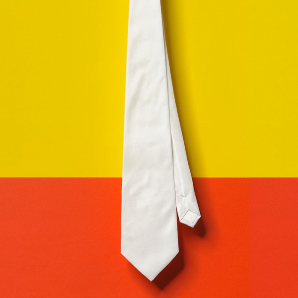 Krawatte Seide Pongé 08 ca. 142x9,5cm 12 St. naturweiß 100% Seide