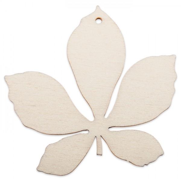 Holzmotiv Kastanienblatt 3mm ca. 6cm natur