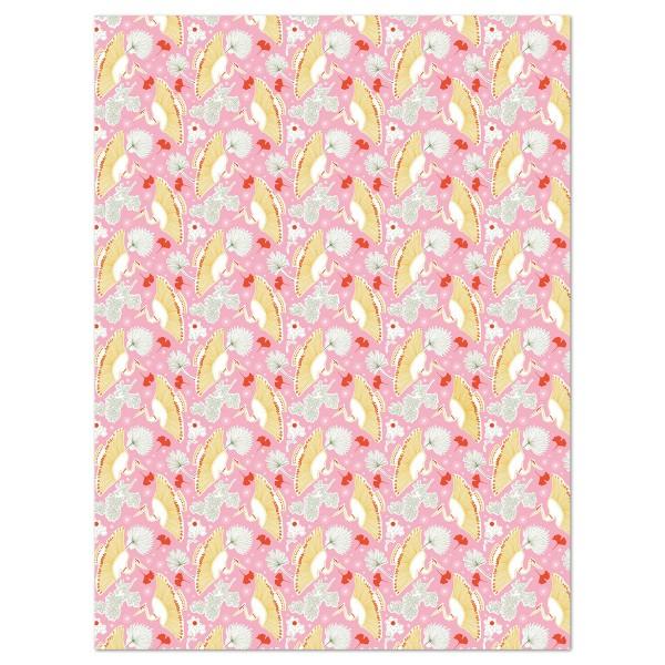 Decoupagepapier Texture Phantasieblume/rosa von Décopatch, 30x40cm, mit Metalliceffekt