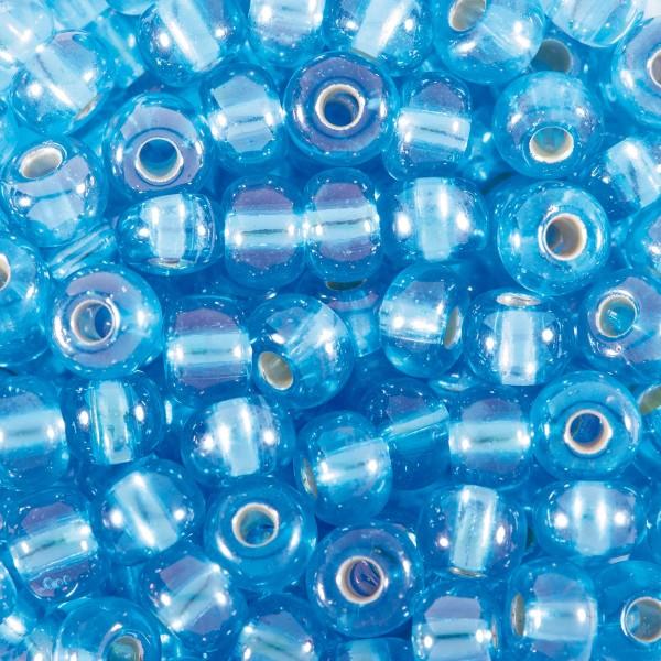 Rocailles Silbereinzug AB 4,5mm 17g hellblau Glas, Lochgr. ca. 1mm