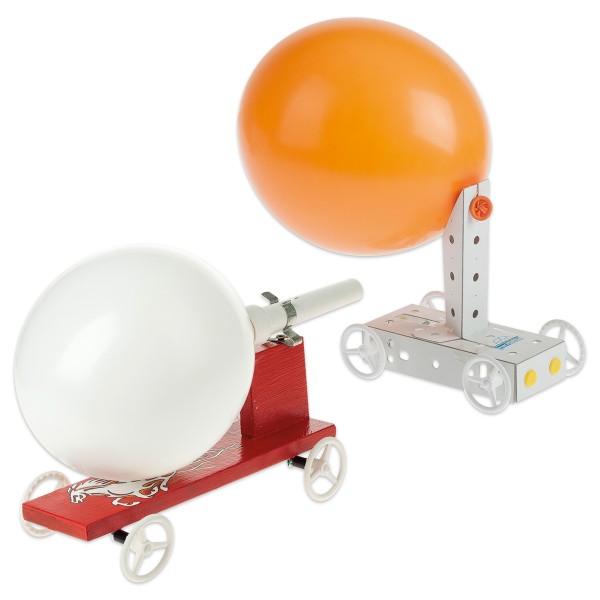 Luftballon- & Raketen-Fahrzeug-Set Pappe, Holz, Kunststoff mit Anleitung, ca. 25x17,5x10cm & 20x5x6c