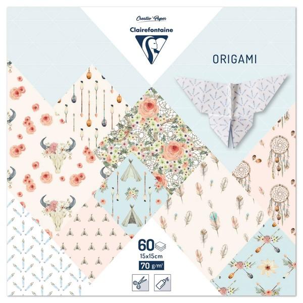 Origami-Papier 15x15cm 60 Bl. Bohème Chic 70g/m², 30 Motive