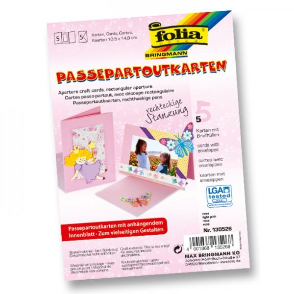 Passepartoutkarten DIN A6 5 St. Rechteck rosa inkl. Kuvert&Einlegeblatt, 220g/m²