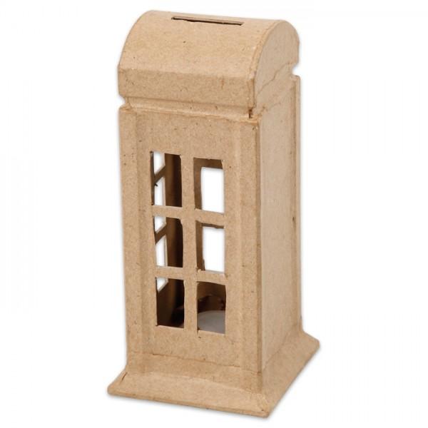 Spardose Telefonzelle Pappmaché 6,5x6,5x15cm