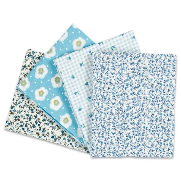 Patchwork-Stoff-Paket 4 Zuschnitte à 45x55cm hellblau 100% Baumwolle, 100g/m²