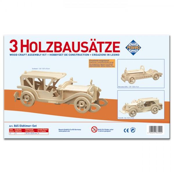 Holzbausatz Set Oldtimer ca. 26,5-27,5cm 3 St. vorgestanzt, zum Zusammenstecken