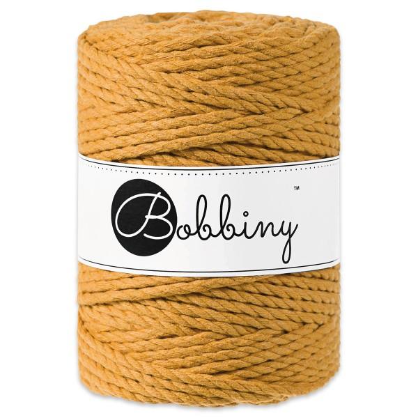 Bobbiny 3PLY Makramee-Kordel Ø5mm mustard ca. 700g-800g, 100% Baumwolle, LL 100m, 3x60 Fasern