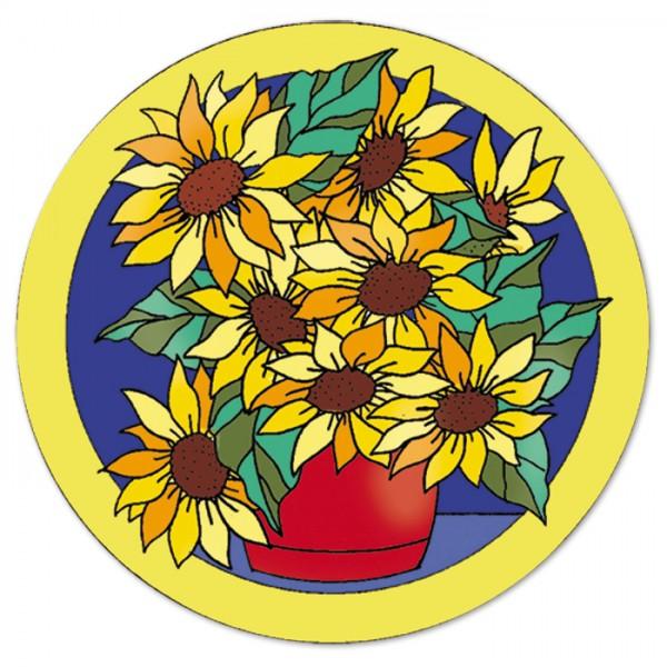Fensterbild Gutta schwarz Ø 25cm Sunflower naturweiß 100% Seide, Seide Pongé 05