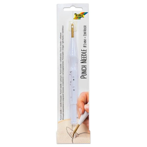 Punch Needle inkl. Einfädelhilfe für dicke Wolle Ø 5mm, 4 Schlaufengrößen einstellbar, Kunststoff/Me