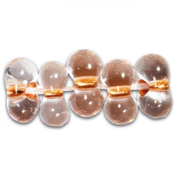 Farfalle Farbeinzug 6,5mm 17g cristall kupfer Glas, Lochgr. ca. 1mm