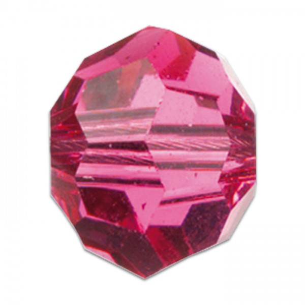 Facettenschliffperlen 6mm 30 St. rosa transparent, feuerpoliert, Glas, Lochgr. ca. 1mm