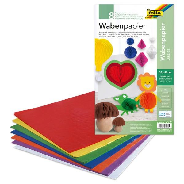 Wabenpapier 33x40cm 8 Bl./Farben 30-lagig verklebt
