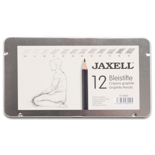 Jaxell Bleistiftsortiment 9H-2H 12 St. im Metalletui
