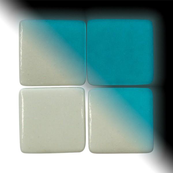 Mosaik Neon-Glas 25x25x4-4,5mm 100g Tag/Nacht weiß/blau ca. 18 Steine