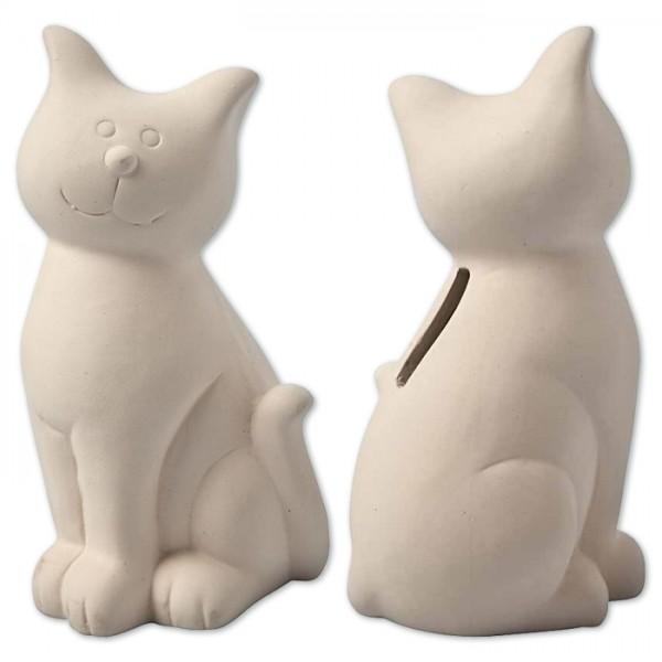 Spardose Katze Terrakotta ca.7,5x14cm weiß