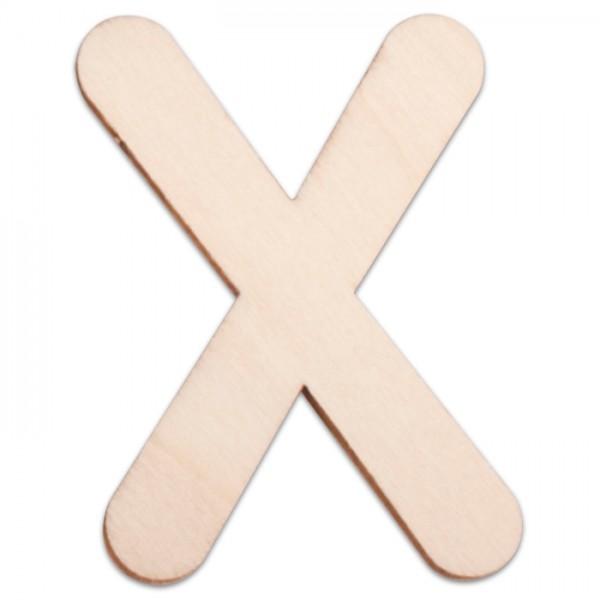 Holzbuchstabe X ca. 3mm 6cm hoch natur